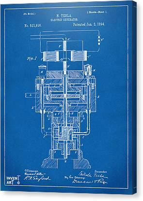 Canvas Print featuring the drawing 1894 Tesla Electric Generator Patent Blueprint by Nikki Marie Smith
