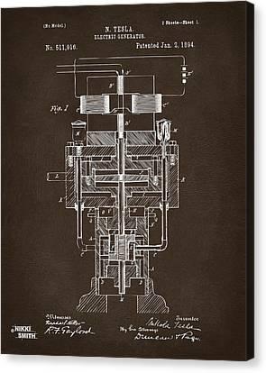 1894 Tesla Electric Generator Patent Espresso Canvas Print