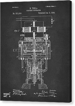 Canvas Print featuring the drawing 1894 Tesla Electric Generator Patent Gray by Nikki Marie Smith