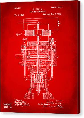Canvas Print featuring the drawing 1894 Tesla Electric Generator Patent Red by Nikki Marie Smith