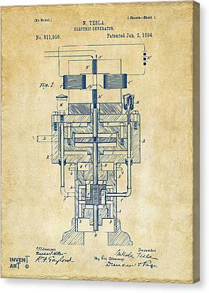 Generators Canvas Print - 1894 Tesla Electric Generator Patent Vintage by Nikki Marie Smith