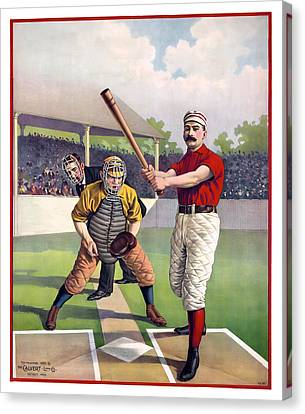 1895 Batter Up At Home Plate Canvas Print by Daniel Hagerman