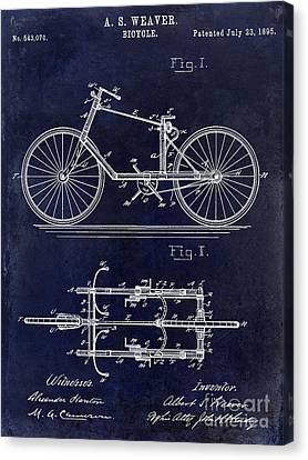 Vintage Bicycle Canvas Print - 1895 Bicycle Patent Drawing Blue by Jon Neidert