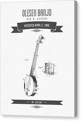 1895 Olesen Banjo Patent Drawing Canvas Print by Aged Pixel