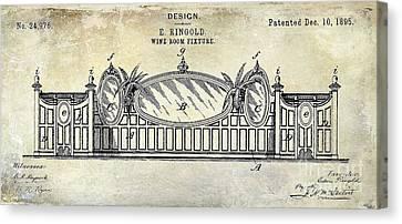 Napa Valley Vineyard Canvas Print - 1895 Wine Room Fixture Design Patent by Jon Neidert