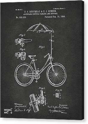 Rain Canvas Print - 1896 Bicycle Parasol Patent Artwork Gray by Nikki Marie Smith