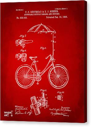 Rain Canvas Print - 1896 Bicycle Parasol Patent Artwork Red by Nikki Marie Smith