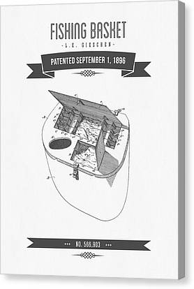 1896 Fishing Basket Patent Drawing Canvas Print by Aged Pixel