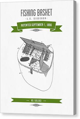 1896 Fishing Basket Patent Drawing - Green Canvas Print by Aged Pixel