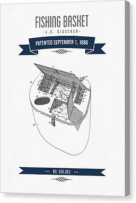 1896 Fishing Basket Patent Drawing - Navy Blue Canvas Print by Aged Pixel