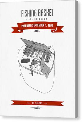 1896 Fishing Basket Patent Drawing - Red Canvas Print by Aged Pixel