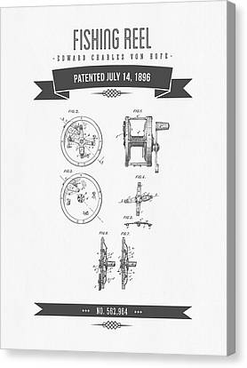 1896 Fishing Reel Patent Drawing Canvas Print by Aged Pixel