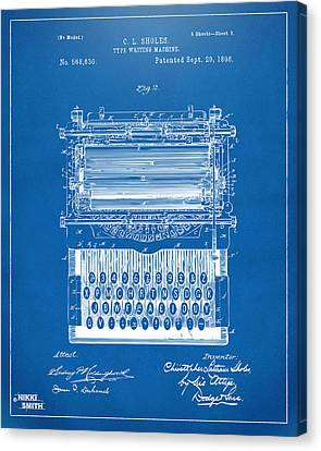 Workers Canvas Print - 1896 Type Writing Machine Patent Artwork - Blueprint by Nikki Marie Smith