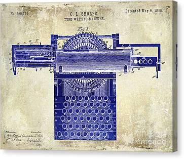 1896 Type Writing Machine Patent Drawing Two Tone Canvas Print by Jon Neidert