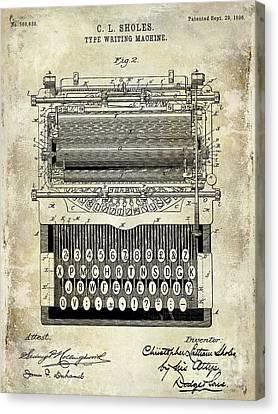 1896 Type Writing Machine Patent Canvas Print by Jon Neidert