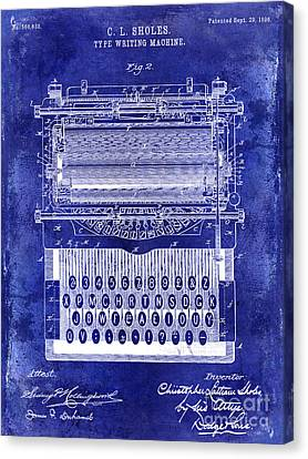 1896 Typewriting Machine Patent Blue Canvas Print