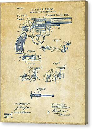1896 Wesson Safety Device Revolver Patent Artwork - Vintage Canvas Print by Nikki Marie Smith