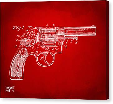1896 Wesson Safety Device Revolver Patent Minimal - Red Canvas Print by Nikki Marie Smith