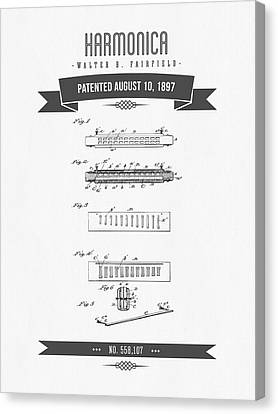 1897 Harmonica Patent Drawing Canvas Print by Aged Pixel