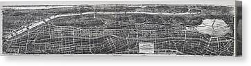 1897 Vintage Nyc Map Of The South Bronx Canvas Print by Stephen Stookey