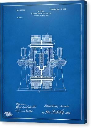 1898 Tesla Electric Circuit Patent Artwork - Blueprint Canvas Print
