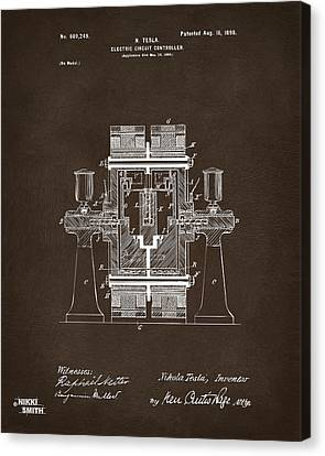 1898 Tesla Electric Circuit Patent Artwork Espresso Canvas Print by Nikki Marie Smith