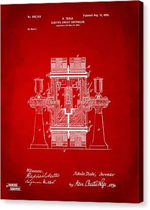 1898 Tesla Electric Circuit Patent Artwork - Red Canvas Print