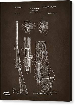 1899 Browning Bolt Gun Patent Espresso Canvas Print by Nikki Marie Smith