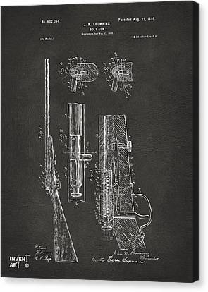 1899 Browning Bolt Gun Patent Gray Canvas Print by Nikki Marie Smith