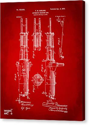 1899 Garland Automatic Machine Gun Patent Artwork - Red Canvas Print by Nikki Marie Smith