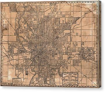 1899 Indianapolis Map Canvas Print by Dan Sproul