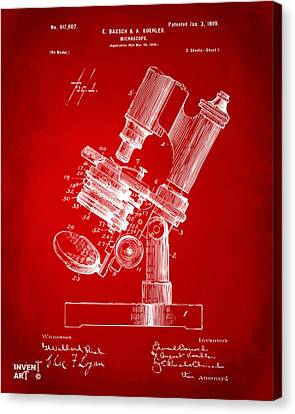 1899 Microscope Patent Red Canvas Print by Nikki Marie Smith