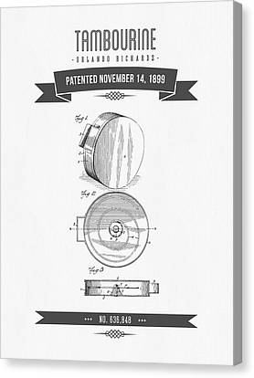 1899 Tambourine Patent Drawing Canvas Print by Aged Pixel
