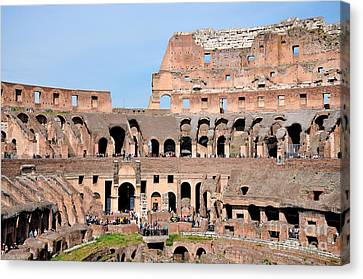 Sunny Canvas Print - Colosseum In Rome by George Atsametakis