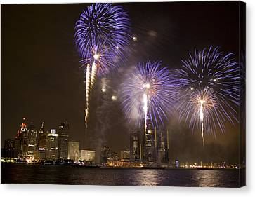 Detroit Fireworks Canvas Print by Gary Marx
