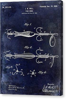 1900 Fishing Hook Patent Drawing Blue Canvas Print