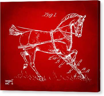 1900 Horse Hobble Patent Artwork Red Canvas Print by Nikki Marie Smith