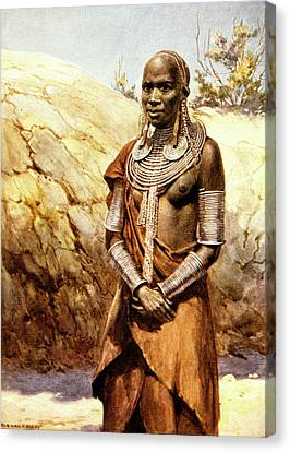 Masai Canvas Print - 1900s 1902 Illustraion Of Masai Woman by Vintage Images