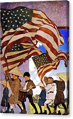 Fourth Of July Canvas Print - 1900s 1904 Drawing By Maxfield Parrish by Vintage Images