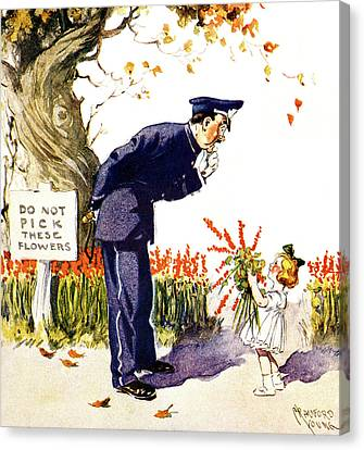 Policeman Canvas Print - 1900s 1910s Little Girl Handing Bouquet by Vintage Images