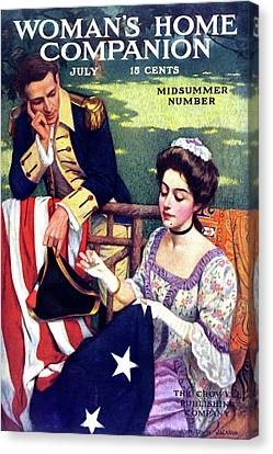 Colonial Man Canvas Print - 1900s Betsy Ross Sewing First American by Vintage Images