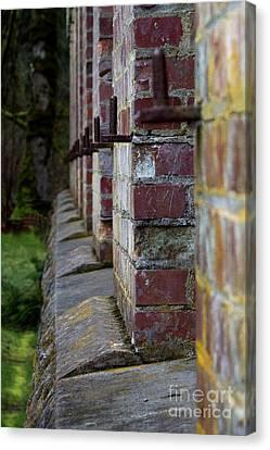Burned Clay Canvas Print - 1900's Brick Wall by Deanna Proffitt
