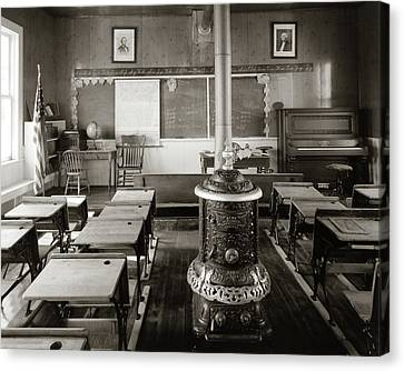 Wood Burning Canvas Print - 1900s Old Time Pioneer Classroom by Vintage Images