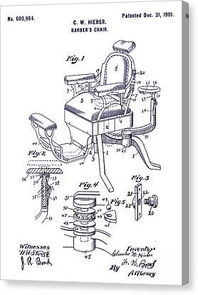 1901 Barber Chair Patent Blueprint Canvas Print