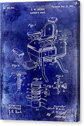 1901 Barber Chair Patent Drawing Blue Canvas Print