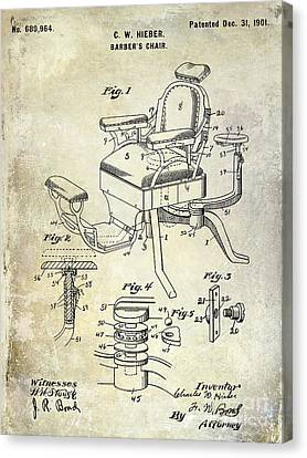 1901 Barber Chair Patent Drawing  Canvas Print