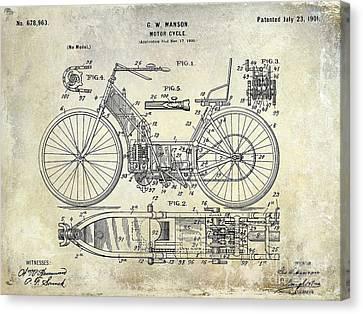 1901 Motorcycle Patent Drawing Canvas Print by Jon Neidert