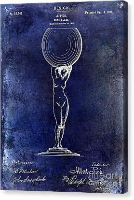 1901 Wine Glass Design Patent Blue Canvas Print by Jon Neidert