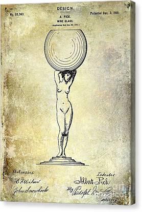 1901 Wine Glass Design Patent Canvas Print by Jon Neidert