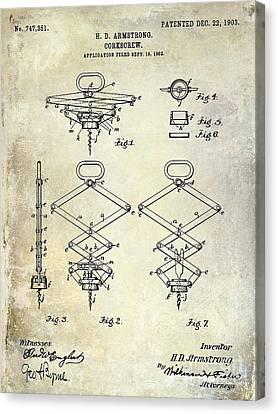 1902 Corkscrew Patent Canvas Print by Jon Neidert